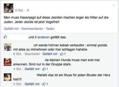 Postings von IS-Sympathisanten in einem Sozialem Netzwerk