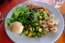 Lunch - cannellini bean salad, zucchini with marjoram, deep fried monkfish with aioli and more bread