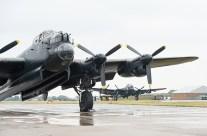 Canadian Lancaster Bomber, 'Vera', arrives at RAF Coningsby, Lincolnshire, UK.
