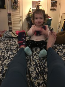 My little foot massage therapist, jk!