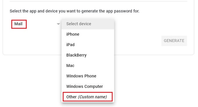 select app and device