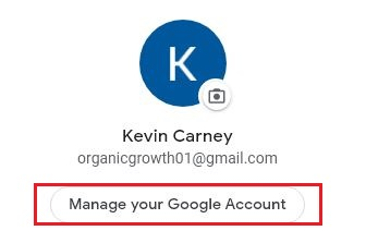 select manage your google account