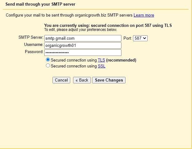 set smtp relay details