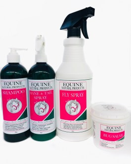 BUNDLE Equine Natural Products – Shampoo + Conditioner + Fly Spray + Bug Salve