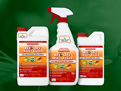 three sizes of organocide bee safe insect killer spray against background of flowers