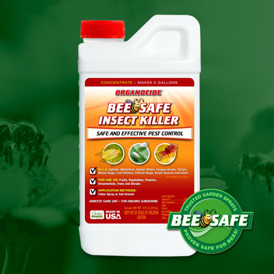 red orange and white pint twist off cap container of bee safe organic insect killer concentrate over green flowers and bees