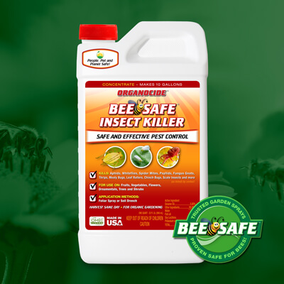 red orange and white quart twist off cap container of bee safe organic insect killer concentrate over green flowers and bees