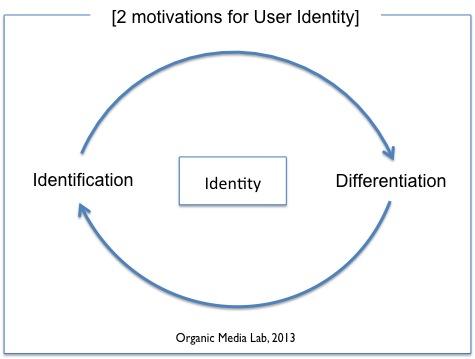 사용자 정체성(identity)은 크게 동일시(identification)와 차별화(differentiation) 욕구에 기반하며, 이 대립된 요소는 서로 상호의존적(interdependent) 관계에 놓여있다.
