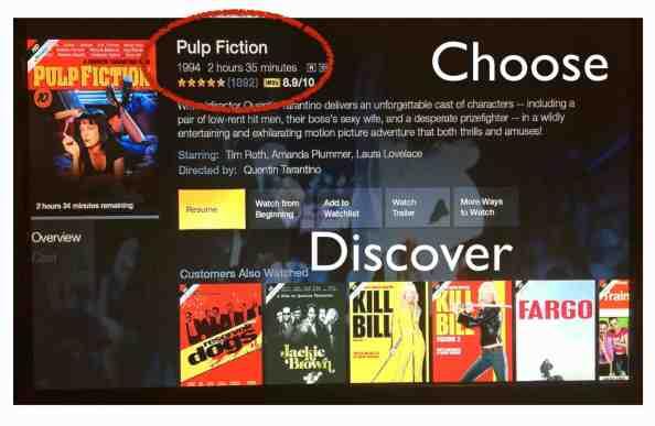 아마존 TV는 어떤 영상을 감상할 것인가 고민하는 시간을 줄여준다. 아마존 TV 시청자들의 평점과 IMDb 사용자들의 평점이 정보로 나와 있다. 또한 아마존 커머스와 같이 '이 영화를 본 사람들이 본 다른 영화'가 새로운 영상을 발견하는 컨텍스트로 이어진다.