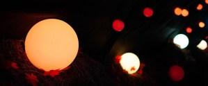 Glowing orbs line the path