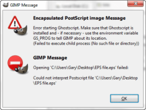 When trying to open an EPS file in Ghostscript this message appears
