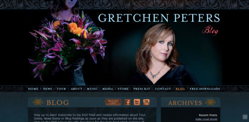 The Website of singer Gretchen Peters