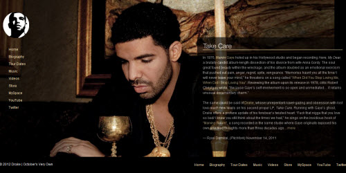 The official Website for Drake uses WordPress