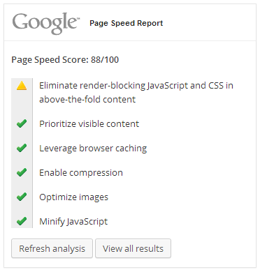 Google PageSpeed Insights reposrt after activating within WordPress