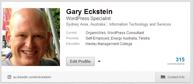 Example of LinkedIn profile page