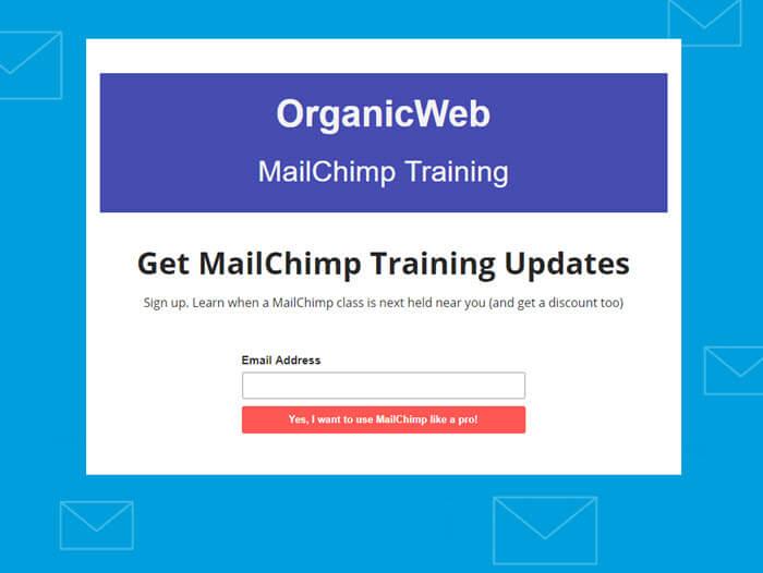 Image of Mailchimp landing page.