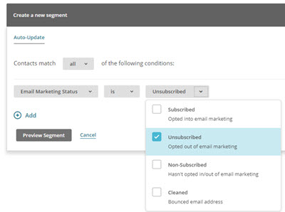 Segment showing Mailchimp unsubscribed contacts