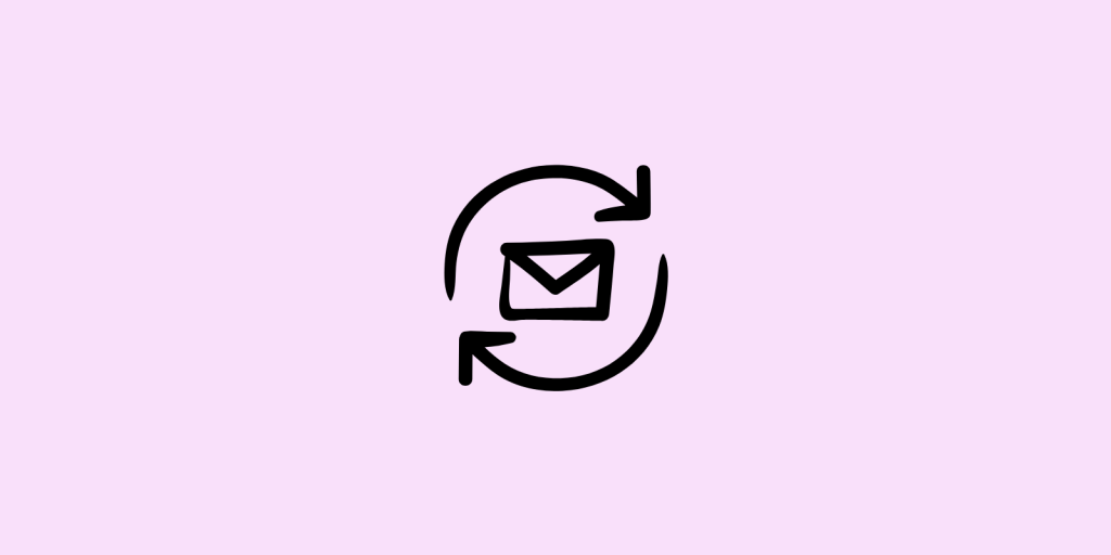 Arrows and envelope on pink background