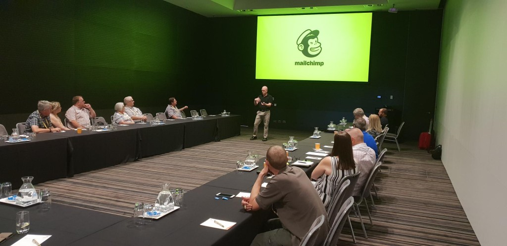 Presenting Mailchimp at Mitre10 expo in Adelaide