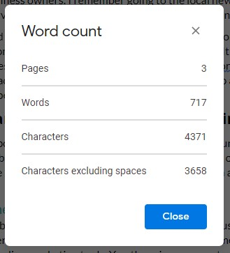Word count in Google Docs