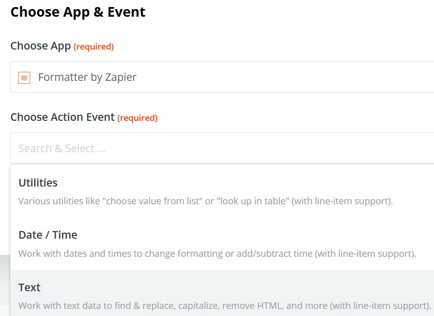 Zapier text option