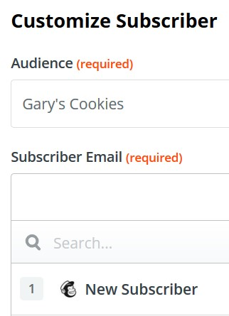 Customizing the Mailchimp subscriber in Zapier