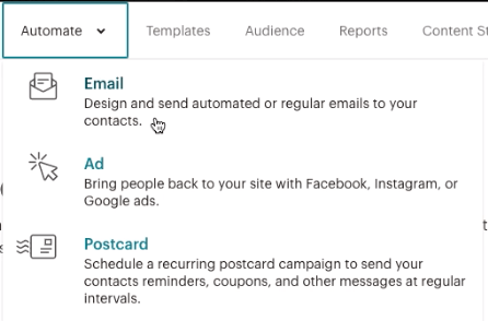 "Mailchimp ""Create an Automation Email"" screen"