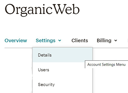 Mailchimp account details settings.