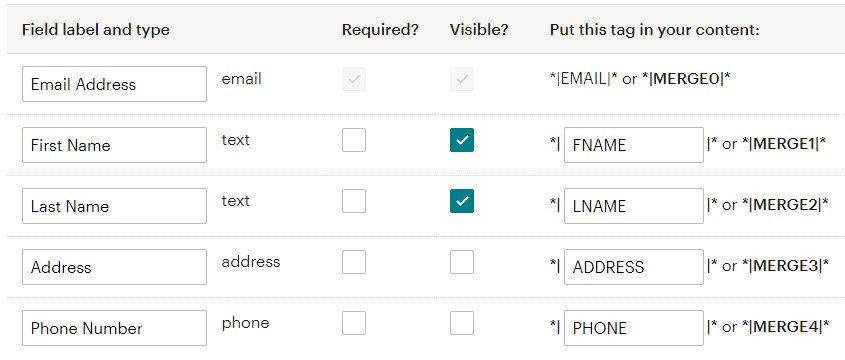 How to hide Mailchimp fields