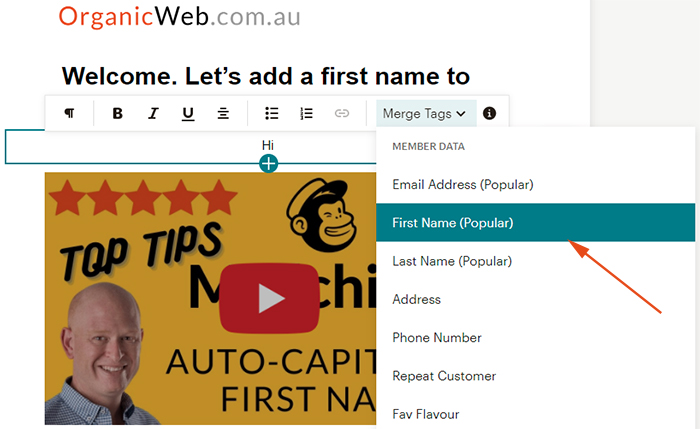 Add the first names into a Mailchimp email campaign