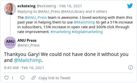 Tweets between ANU Press and Gary regarding ANU email marketing success