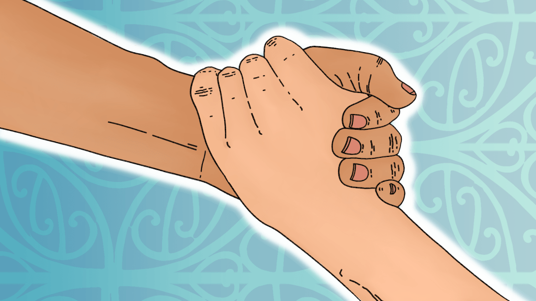 Image of one hand grasping at another hand reaching up from below, implying solidarity and mutual aid, set against a blue background with Pacific art patterns. Art commissioned from Huriana Kopeke-Te Aho