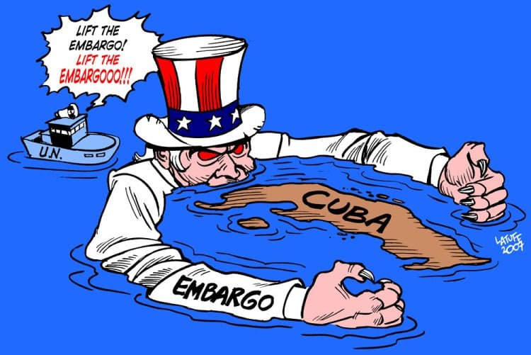 """Cartoon by Carlos Latuff, 2007, depicting a demonic Uncle Sam submerged in water with his arms wrapped around Cuba. A United Nations ship floats behind him shouting """"Lift the embargo!"""""""