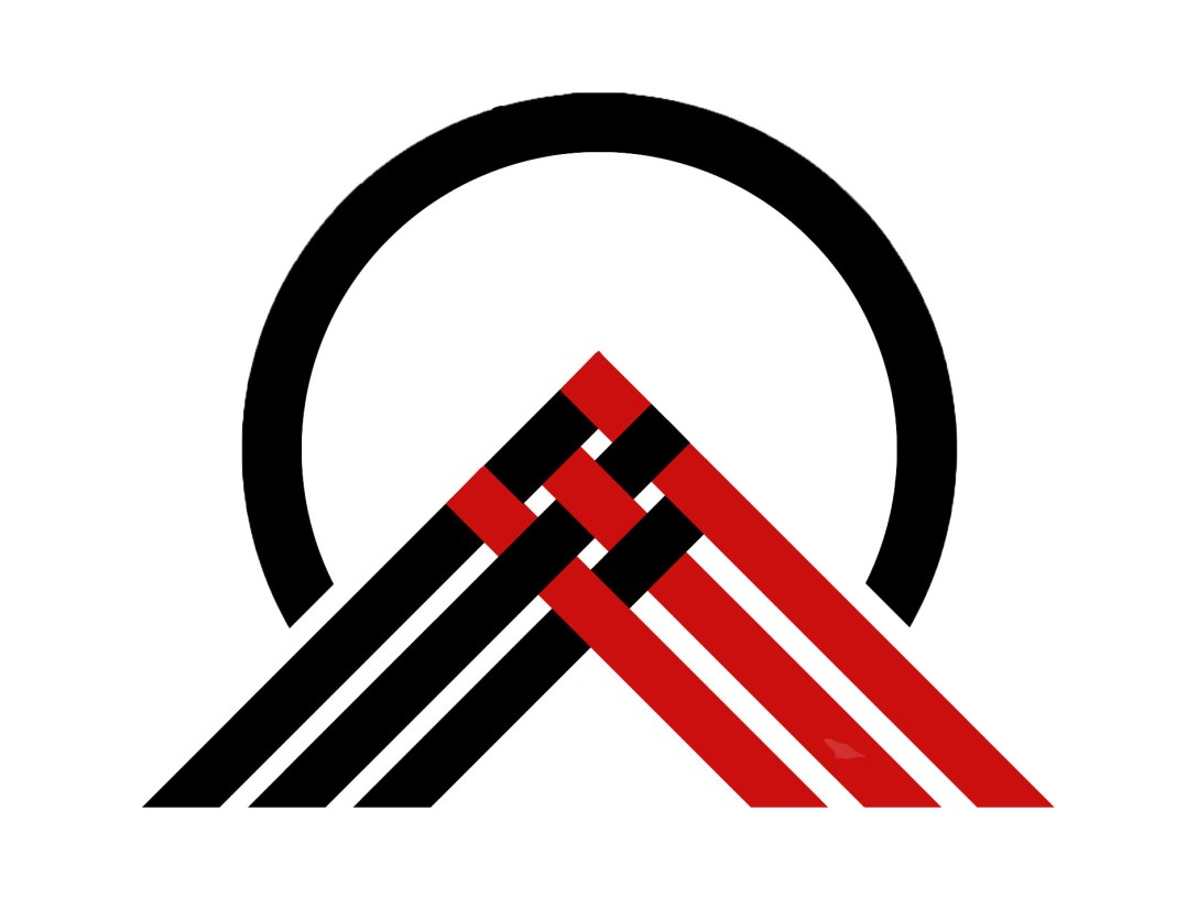 """The """"Raranga Wedge"""" shows a black circle on white background with intruding wedge of black and red strands woven together entering the circle from beneath. Reimagines the """"red wedge"""" socialist motif originally imagined by El Lissitzky symbolising the defeat of the White Army by the Bolsheviks in the Russian Civil War."""