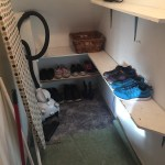 Understairs cupboard After, organised shoes, equipment