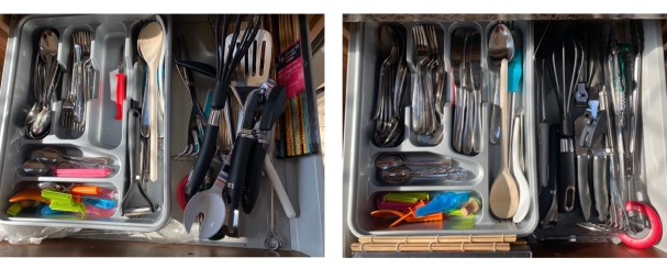 Declutter to improve your wellbeing Cutlery Drawer example, Before and After