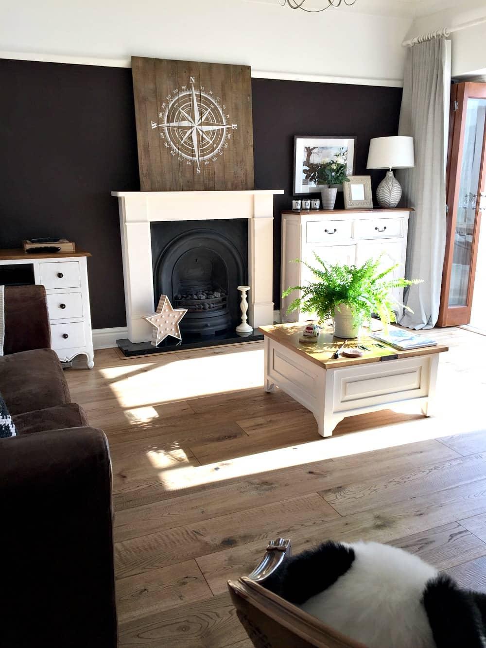 Family Room Dark Walls Little Greene Paint Company Purple Brown Colour Dark Paint Interior
