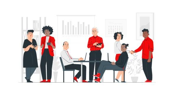 illustration of people discussing Organiser votre séminaire dans votre entreprise