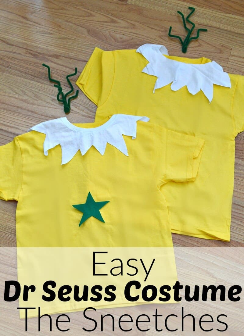 Make this easy Dr Seuss Costume of The Sneetches in minutes. It works great as a single costume or as a couple, BFF, family or group costume.