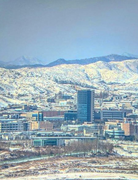 View through the binoculars at the Dorasan Observatory into a North Korean city