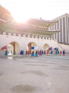 Preparing for changing of the guards at Gyeongbokgung Palace