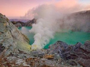 Sunrise over Mount Ijen volcano in Java Indonesia