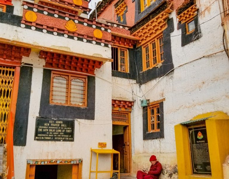 A monk and his phone at thousand-year-old Key Monastery