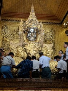 The living Buddha at the Mahamuni Pagoda