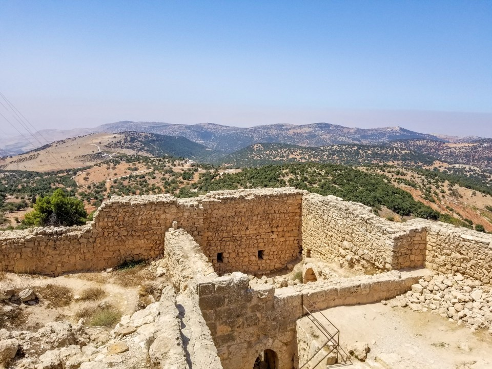 View from Jordan's Ancient Ruins of Ajloun Castle