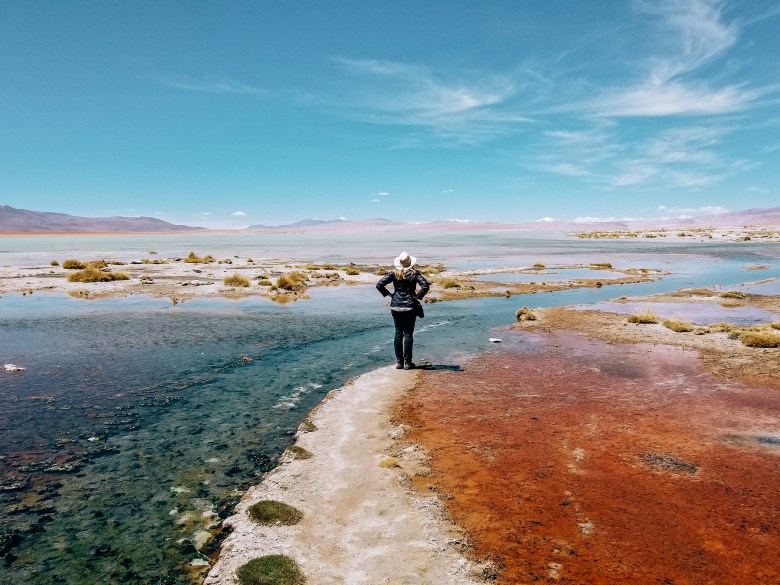 Colorful landscape near hot springs in Bolivia