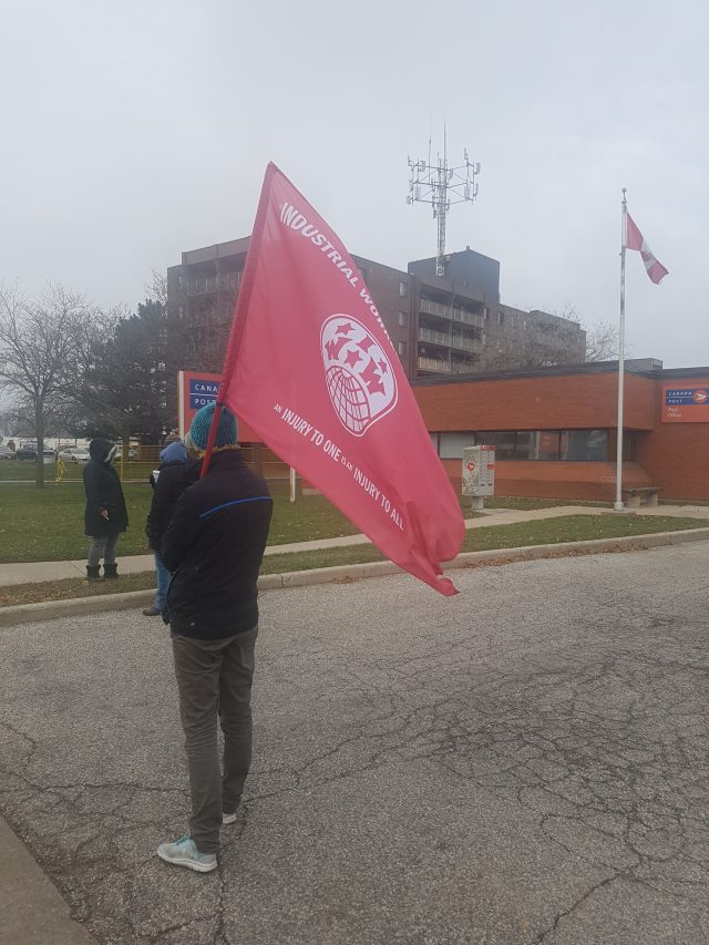 IWW member at a picket in Windsor, Ontario