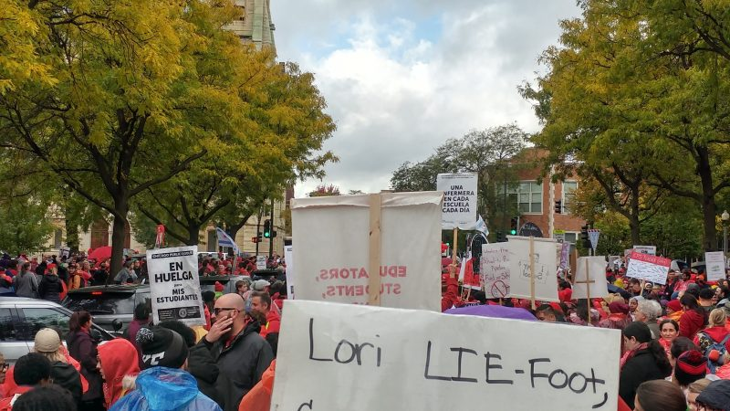 Striking Chicago education workers rally on October 21, 2019