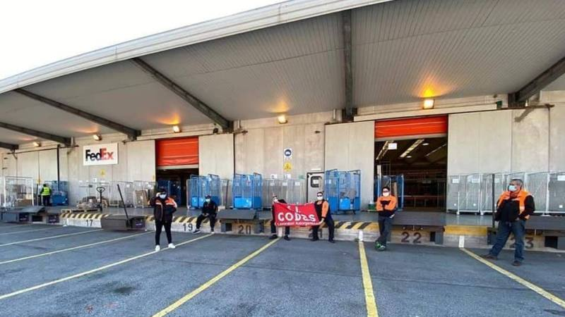 Workers at TNT FedEx facilities in Genoa and Bologna striking on April 7 for safer conditions