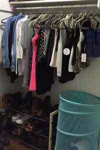Emily's closet when I unpacked her last August